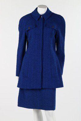 A Chanel royal blue boucle wool suit, 1997, boutique