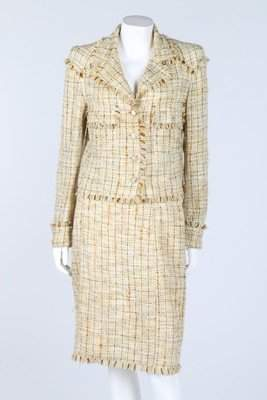 A Chanel pale yellow flecked and fringed summer suit,