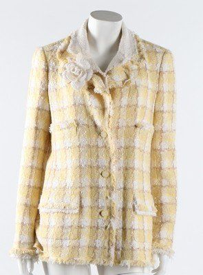 A Chanel yellow and white checked tweed jacket, circa