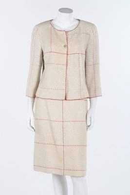 A Chanel ecru and wine window pane checked summer suit,