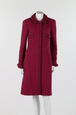 A Chanel puce and black checked wool/alpaca tweed coat,