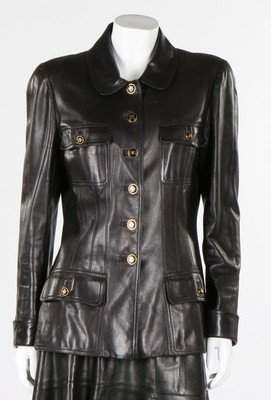 A Chanel black leather jacket, late 1990s, boutique