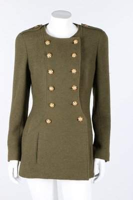 A Chanel olive-green tweed double breasted jacket,