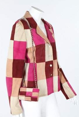 A Chanel patchwork suede jacket and matching miniature