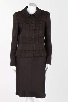 A Chanel dark brown flecked tweed jacket, circa 2000,