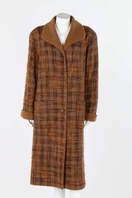 A Chanel brown tweed coat and matching jacket, circa
