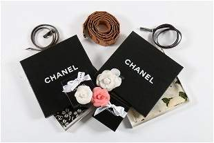 A group of Chanel accessories, comprising: three