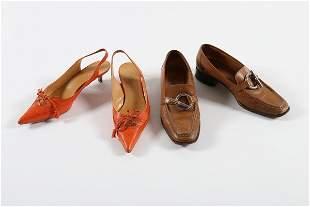 A group of designer footwear, comprising Hermes punched