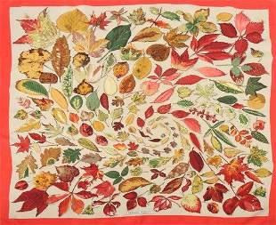 An Hermes autumn-leaf print silk scarf, with orange