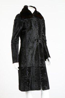 A Fendi black broadtail fur coat, modern, labelled