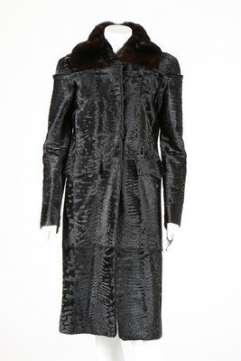A Fendi black broadtail fur coat, modern, labelled - 2