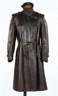 A Ferragamo mink lined brown leather man's trench coat,