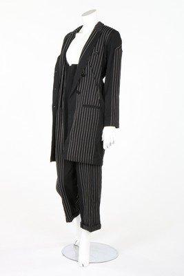 A Yohji Yamamoto black embroidered pinstriped wool