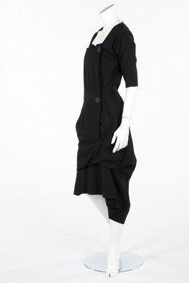 A Yohji Yamamoto double breasted black gabardine dress,