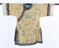 An embroidered yellow silk woman's informal robe,