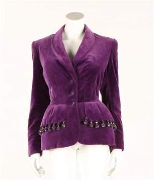 A Hardy Amies purple velvet jacket, early 1950s,