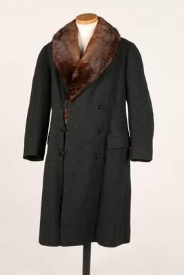 A mink lined dark grey wool man's coat, 1920s, labelled