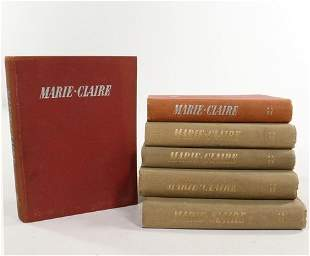 Six bound volumes of Marie Claire magazine, 1937-39,