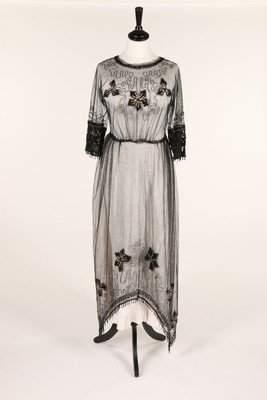 An embroidered tulle dress, circa 1918, embroidered