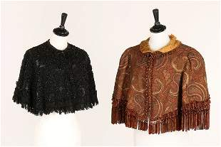 A paisley wool capelet, circa 1885-90, embroidered in