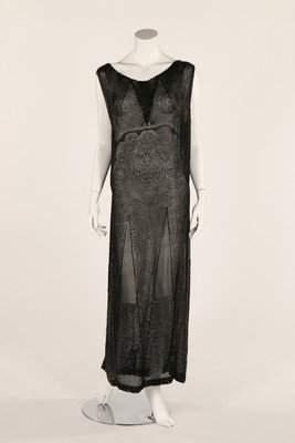 A good black beaded chiffon dress, early to mid 1920s,