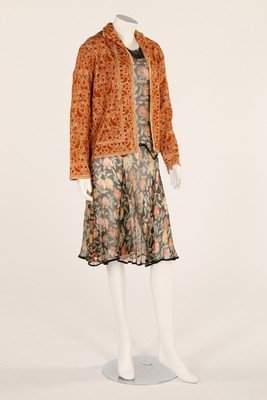 A printed chiffon dress, circa 1928-30, together with