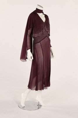 A plum chiffon cocktail dress, circa 1930, with