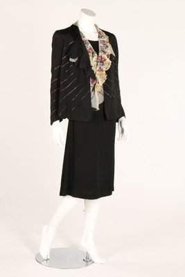 A Paquin printed tulle blouse with matching jacket,