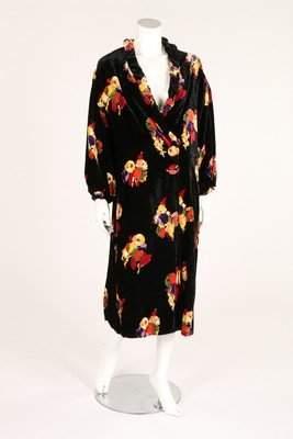 A floral printed black velvet evening coat, circa 1930,