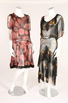 Two floral printed chiffon afternoon gowns, early