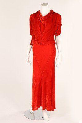 A burnt orange velvet evening gown and bolero, early