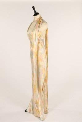 A floral printed satin evening gown, late 1930s,