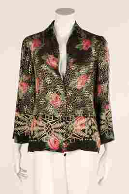 A floral printed lame jacket, 1930s, together with a