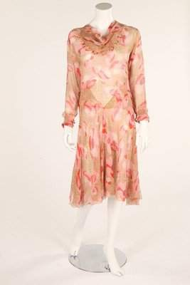 A pink floral printed chiffon dress, 1930s, with