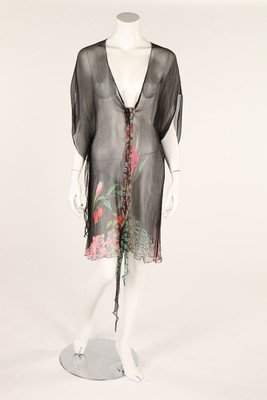 A printed chiffon tabard, 1930s, together with a black
