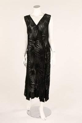 A black cut-velvet evening dress, 1930s, together with