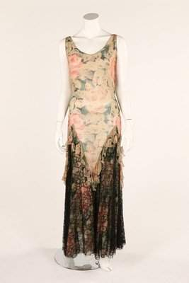 Two floral printed chiffon evening dresses, early