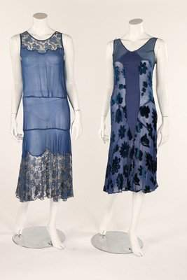 A group of mainly blue evening-wear, 1930s, including a