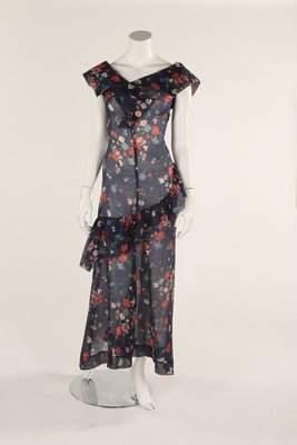 A blue trellis-weave organdy summer dress, 1930s, with