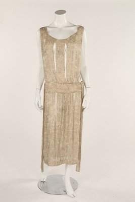 Two beaded flapper evening tabard dresses, late 1920s,