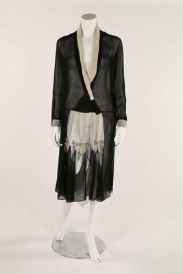 A black chiffon dress, late 1920s, inset with