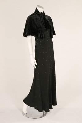 A 1930s black crepe evening dress with rhinestone