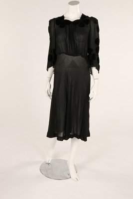 A black chiffon dress, 1930s, with floral velvet