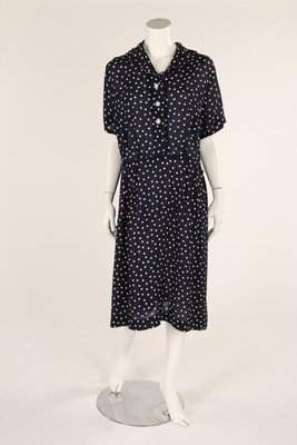 A navy blue and white polka dot dress, early 1930's,