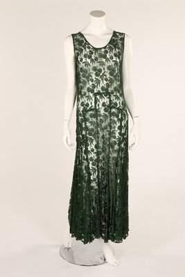 A green lace bias cut dress, 1930s, bust 96in, 38cm;