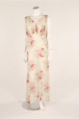 Two full-length chiffon garden party dresses, 1930s,