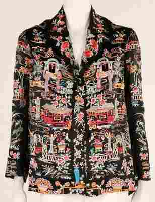 A Chinese silk jacket, 1930s, embroidered with