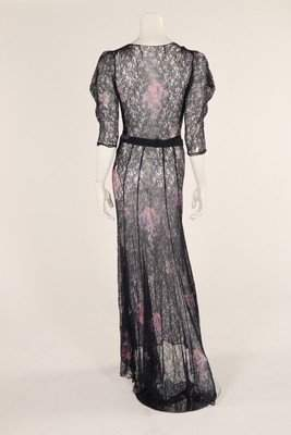Three summer dresses, 1930s, one of blue lace,