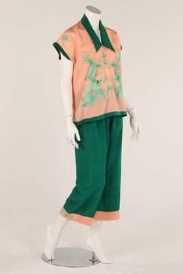 A pair of green and pink lounging/beach pyjamas, 1920s,