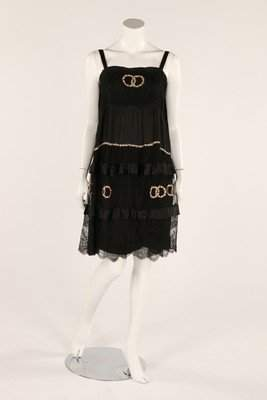 A black tulle nightdress, 1920s, the skirt embroidered